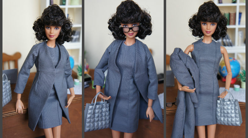 Office Style: Sheath Dress and Long Jacket for Model Muse Barbie